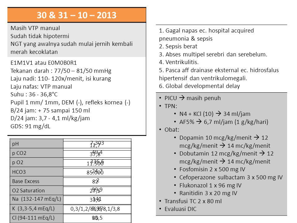 30 & 31 – 10 – 2013 Masih VTP manual Sudah tidak hipotermi NGT yang awalnya sudah mulai jernih kembali merah kecoklatan E1M1V1 atau E0M0B0R1 Tekanan d