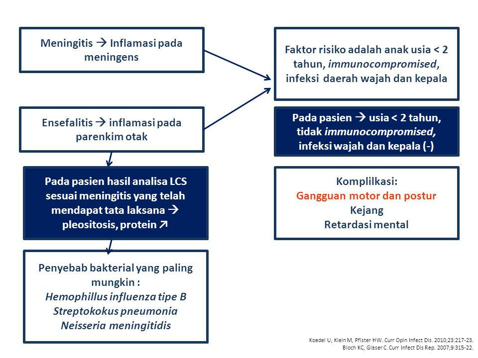 Meningitis  Inflamasi pada meningens Ensefalitis  inflamasi pada parenkim otak Faktor risiko adalah anak usia < 2 tahun, immunocompromised, infeksi