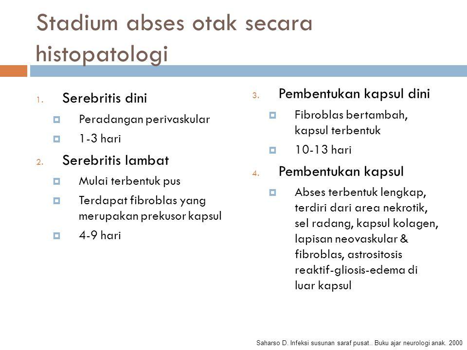 Stadium abses otak secara histopatologi 1. Serebritis dini  Peradangan perivaskular  1-3 hari 2. Serebritis lambat  Mulai terbentuk pus  Terdapat