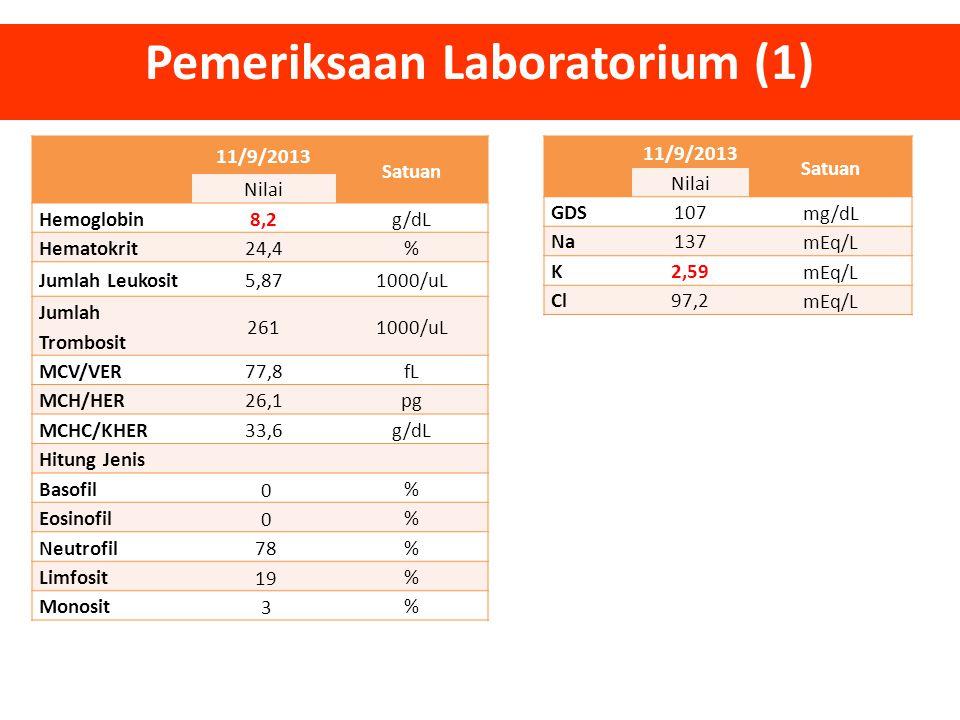 11/9/2013 Satuan Nilai Hemoglobin8,2g/dL Hematokrit24,4% Jumlah Leukosit5,871000/uL Jumlah Trombosit 2611000/uL MCV/VER77,8fL MCH/HER26,1pg MCHC/KHER3