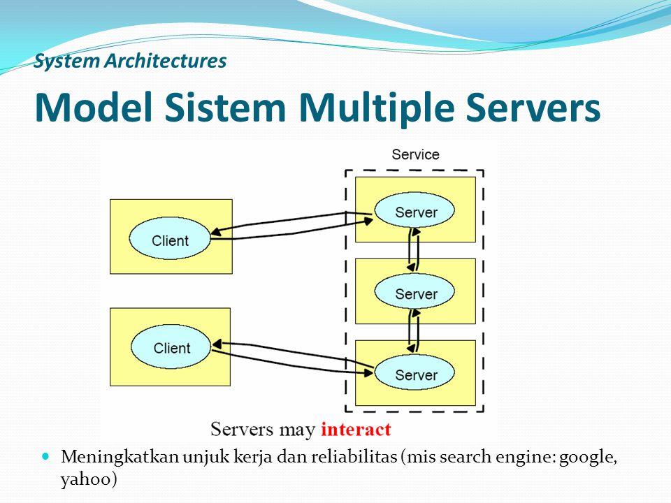 System Architectures Model Sistem Multiple Servers Meningkatkan unjuk kerja dan reliabilitas (mis search engine: google, yahoo)
