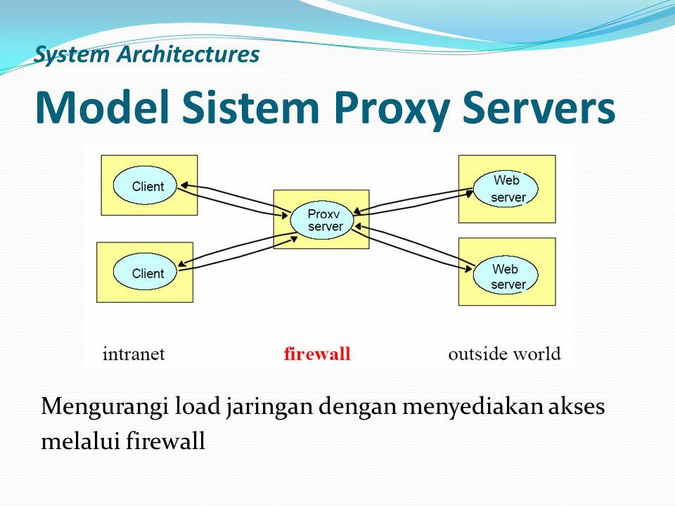 System Architectures Model Sistem Proxy Servers Mengurangi load jaringan dengan menyediakan akses melalui firewall