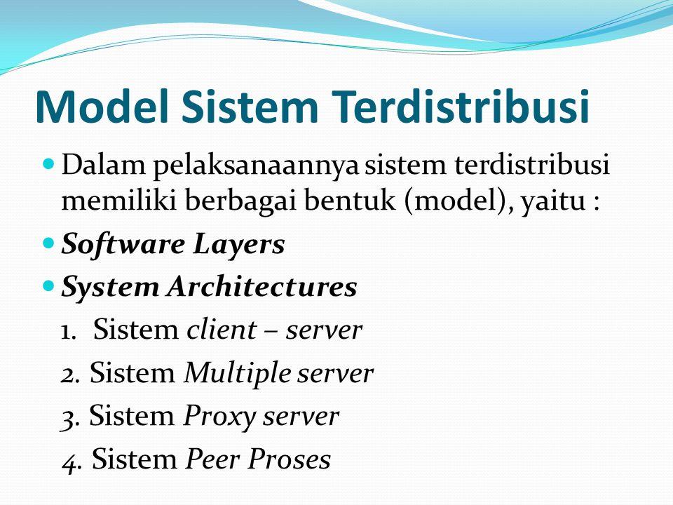 Model Sistem Terdistribusi Dalam pelaksanaannya sistem terdistribusi memiliki berbagai bentuk (model), yaitu : Software Layers System Architectures 1.