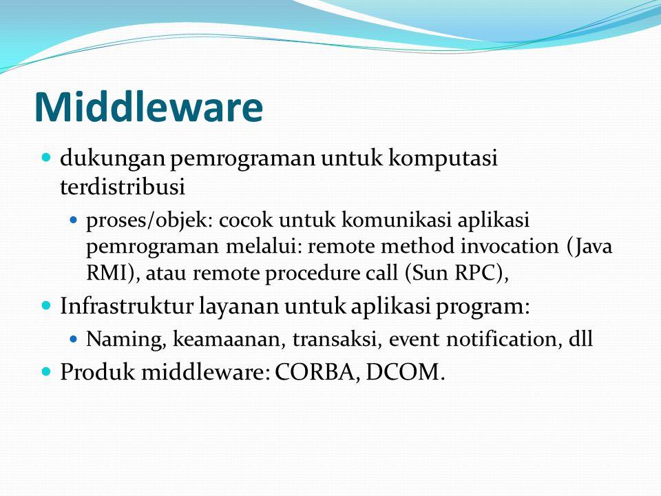 Middleware dukungan pemrograman untuk komputasi terdistribusi proses/objek: cocok untuk komunikasi aplikasi pemrograman melalui: remote method invocation (Java RMI), atau remote procedure call (Sun RPC), Infrastruktur layanan untuk aplikasi program: Naming, keamaanan, transaksi, event notification, dll Produk middleware: CORBA, DCOM.