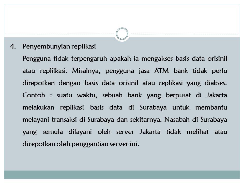 4.Penyembunyian replikasi Pengguna tidak terpengaruh apakah ia mengakses basis data orisinil atau replilkasi.