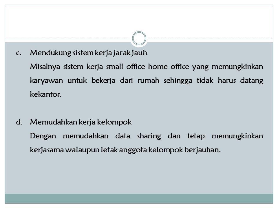 c.Mendukung sistem kerja jarak jauh Misalnya sistem kerja small office home office yang memungkinkan karyawan untuk bekerja dari rumah sehingga tidak harus datang kekantor.