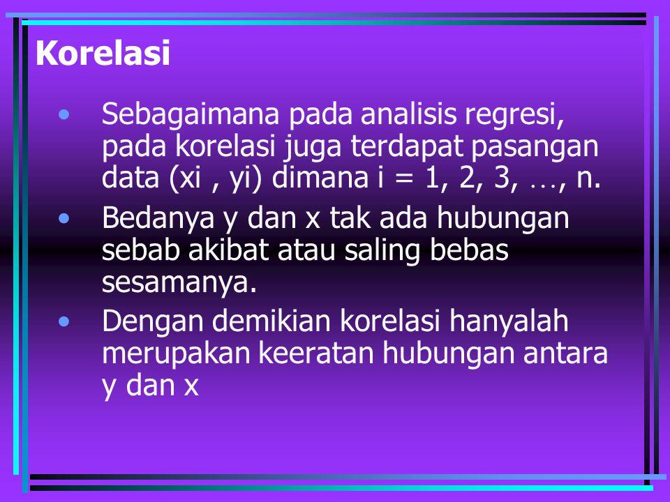 Korelasi Sebagaimana pada analisis regresi, pada korelasi juga terdapat pasangan data (xi, yi) dimana i = 1, 2, 3, …, n. Bedanya y dan x tak ada hubun