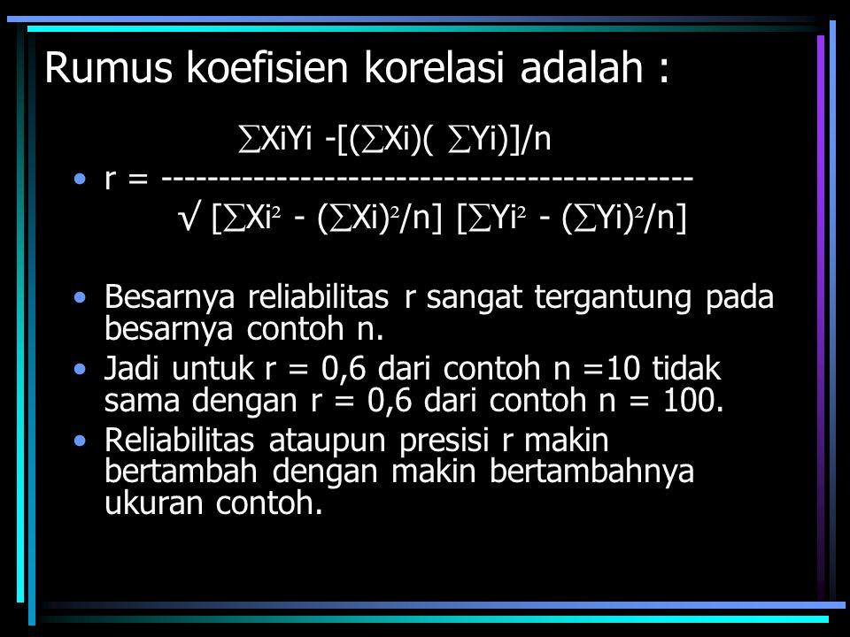Rumus koefisien korelasi adalah :  XiYi -[(  Xi)(  Yi)]/n r = --------------------------------------------- √ [  Xi ² - (  Xi) ² /n] [  Yi ² - (