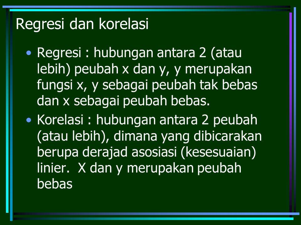 Regresi dan korelasi Regresi : hubungan antara 2 (atau lebih) peubah x dan y, y merupakan fungsi x, y sebagai peubah tak bebas dan x sebagai peubah be