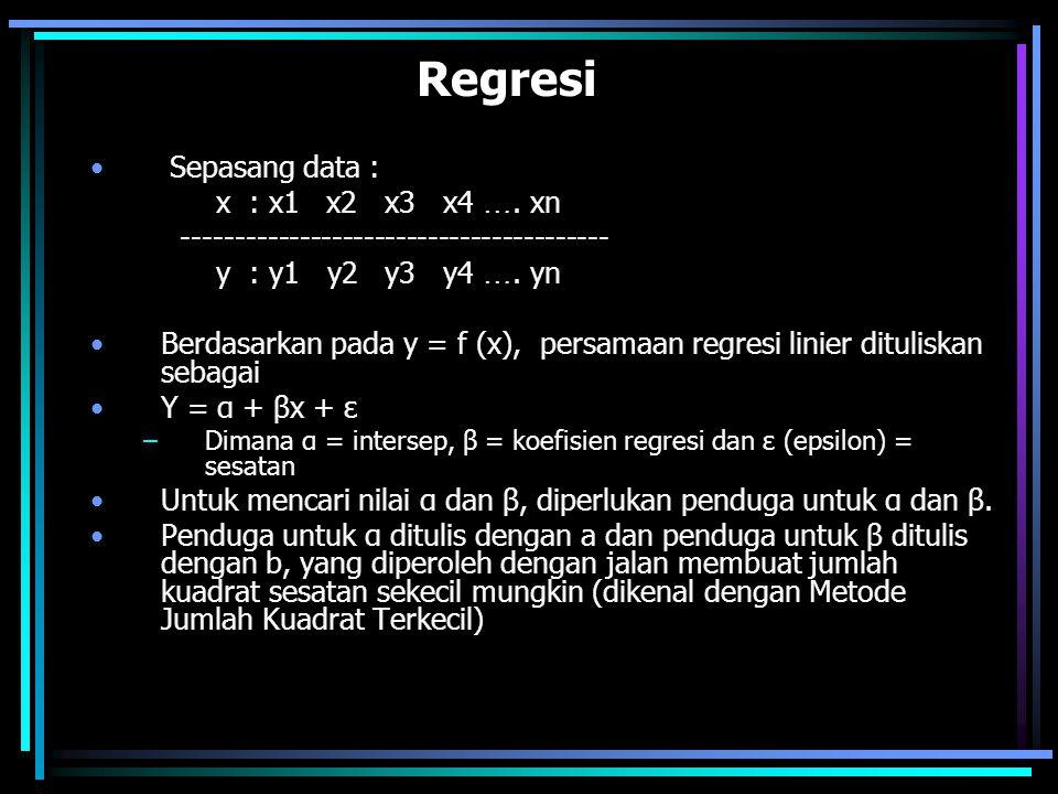 Dari persamaan normal : an + b  Xi =  Yi a  Xi + b  Xi ² =  XiYi Dari dua persamaan normal diatas akan diperoleh koefisien regresi b  XiYi -[(  Xi)(  Yi)]/n b = --------------------------------- atau  Xi ² - (  Xi) ² /n  (Xi -  X)(Yi-  Y)  xi yi b = ------------------------ = ---------------  (Xi -  X)  xi