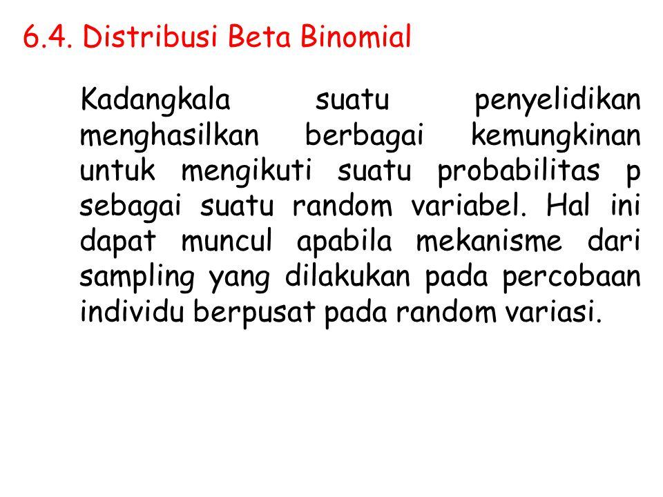 6.4. Distribusi Beta Binomial Kadangkala suatu penyelidikan menghasilkan berbagai kemungkinan untuk mengikuti suatu probabilitas p sebagai suatu rando