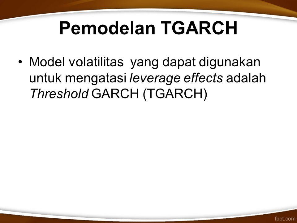 Pemodelan TGARCH Model volatilitas yang dapat digunakan untuk mengatasi leverage effects adalah Threshold GARCH (TGARCH)