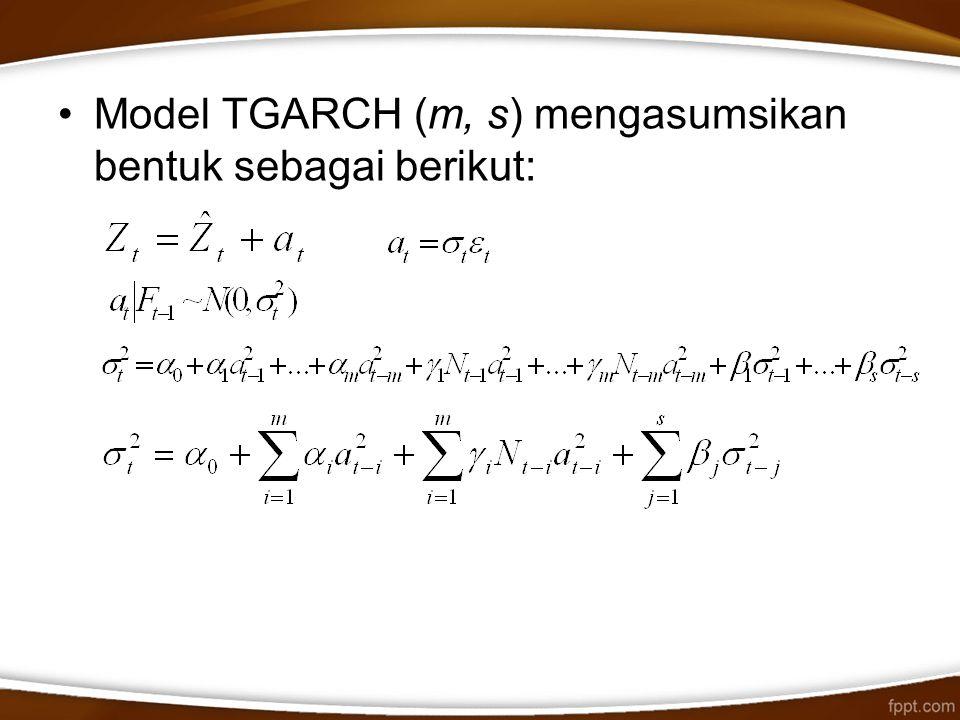 Model TGARCH (m, s) mengasumsikan bentuk sebagai berikut: