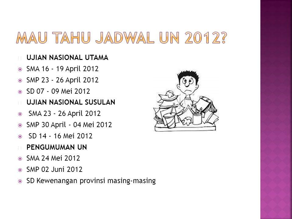  UJIAN NASIONAL UTAMA  SMA 16 - 19 April 2012  SMP 23 - 26 April 2012  SD 07 - 09 Mei 2012  UJIAN NASIONAL SUSULAN  SMA 23 - 26 April 2012  SMP