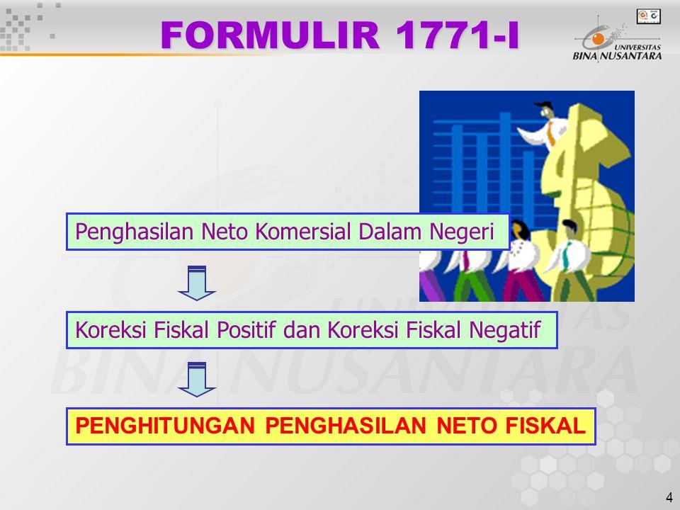 4 FORMULIR 1771-I PENGHITUNGAN PENGHASILAN NETO FISKAL Penghasilan Neto Komersial Dalam Negeri Koreksi Fiskal Positif dan Koreksi Fiskal Negatif