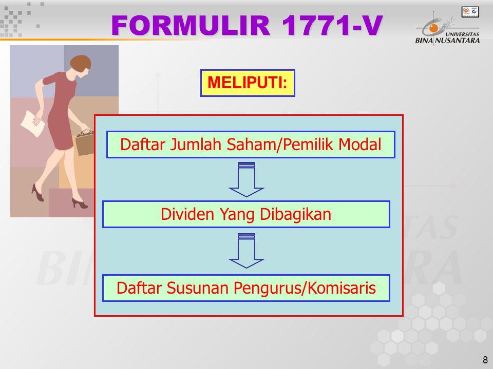 8 FORMULIR 1771-V Daftar Jumlah Saham/Pemilik Modal Dividen Yang Dibagikan MELIPUTI: Daftar Susunan Pengurus/Komisaris