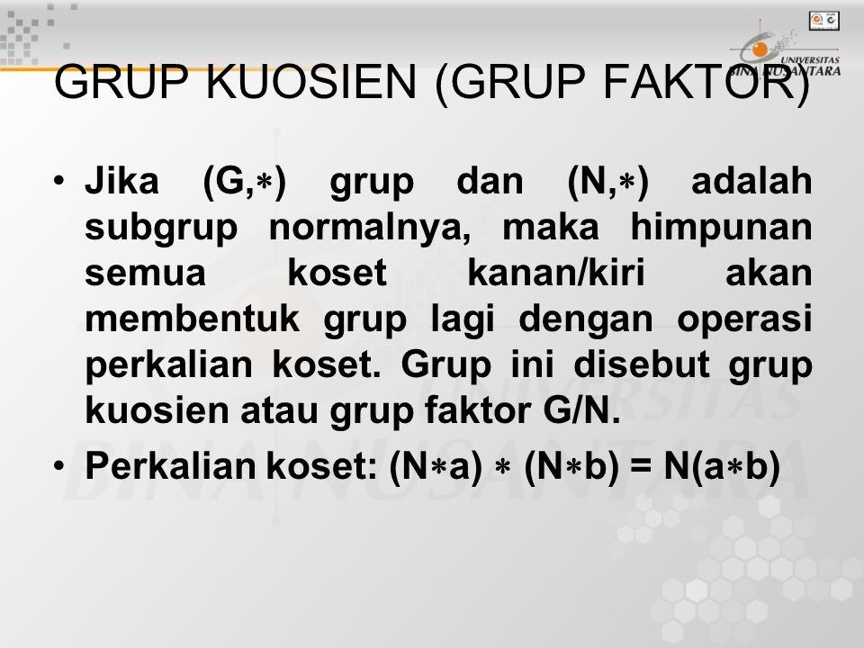GRUP KUOSIEN (GRUP FAKTOR) Jika (G,  ) grup dan (N,  ) adalah subgrup normalnya, maka himpunan semua koset kanan/kiri akan membentuk grup lagi dengan operasi perkalian koset.