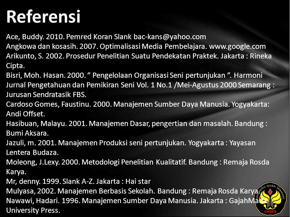 Referensi Ace, Buddy. 2010. Pemred Koran Slank bac-kans@yahoo.com Angkowa dan kosasih. 2007. Optimalisasi Media Pembelajara. www.google.com Arikunto,