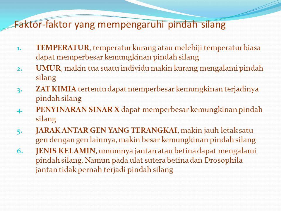 Faktor-faktor yang mempengaruhi pindah silang 1. TEMPERATUR, temperatur kurang atau melebiji temperatur biasa dapat memperbesar kemungkinan pindah sil