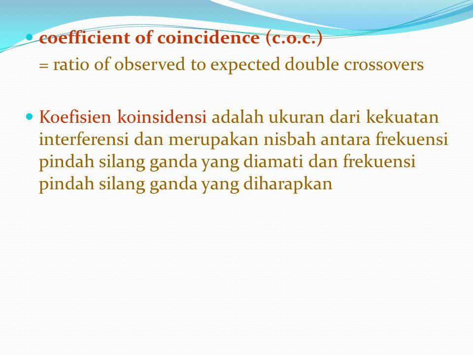 coefficient of coincidence (c.o.c.) = ratio of observed to expected double crossovers Koefisien koinsidensi adalah ukuran dari kekuatan interferensi d
