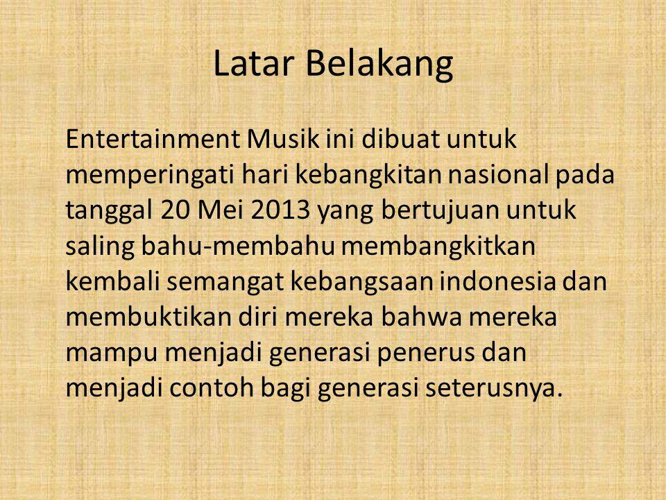 Latar Belakang Entertainment Musik ini dibuat untuk memperingati hari kebangkitan nasional pada tanggal 20 Mei 2013 yang bertujuan untuk saling bahu-m