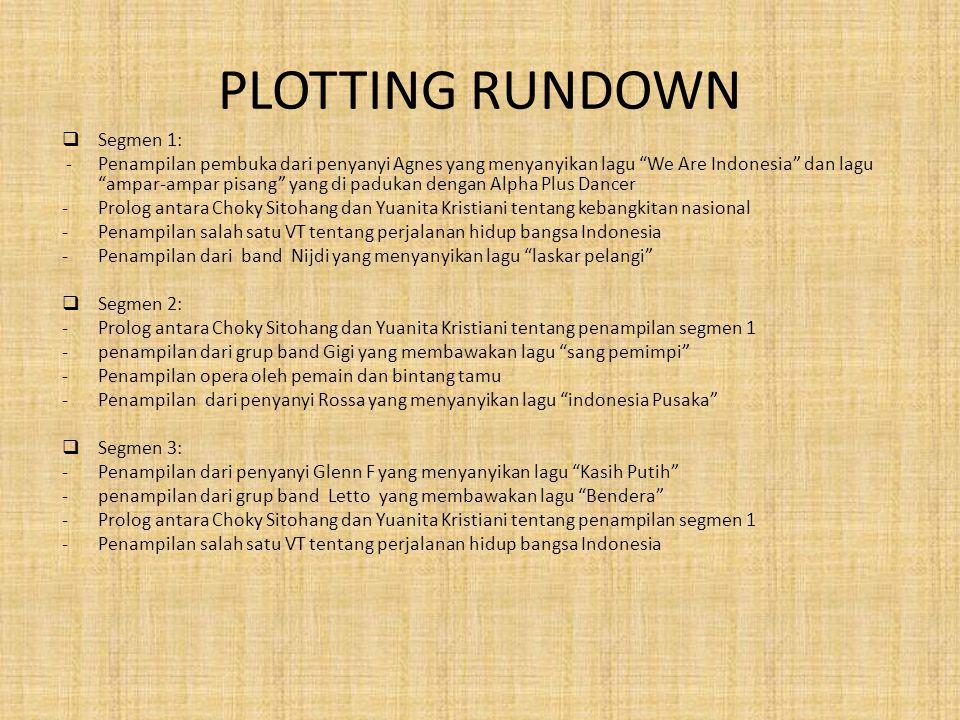 """PLOTTING RUNDOWN  Segmen 1: -Penampilan pembuka dari penyanyi Agnes yang menyanyikan lagu """"We Are Indonesia"""" dan lagu """"ampar-ampar pisang"""" yang di pa"""