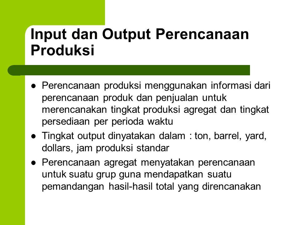 Input dan Output Perencanaan Produksi Perencanaan produksi menggunakan informasi dari perencanaan produk dan penjualan untuk merencanakan tingkat prod