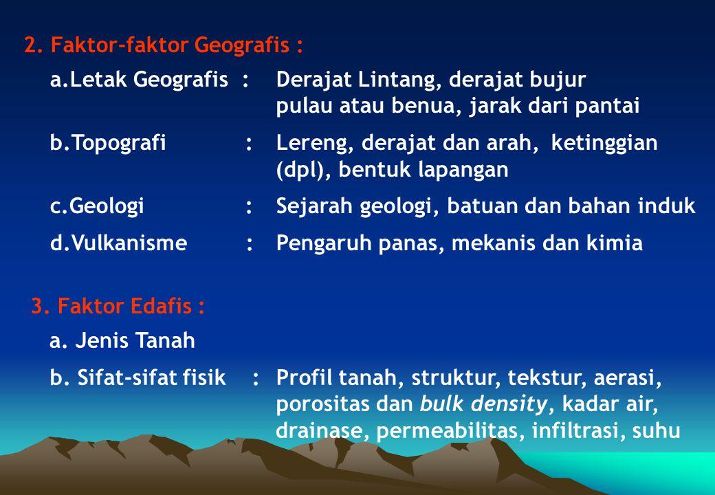 2. Faktor-faktor Geografis : a.Letak Geografis :Derajat Lintang, derajat bujur pulau atau benua, jarak dari pantai b.Topografi :Lereng, derajat dan ar