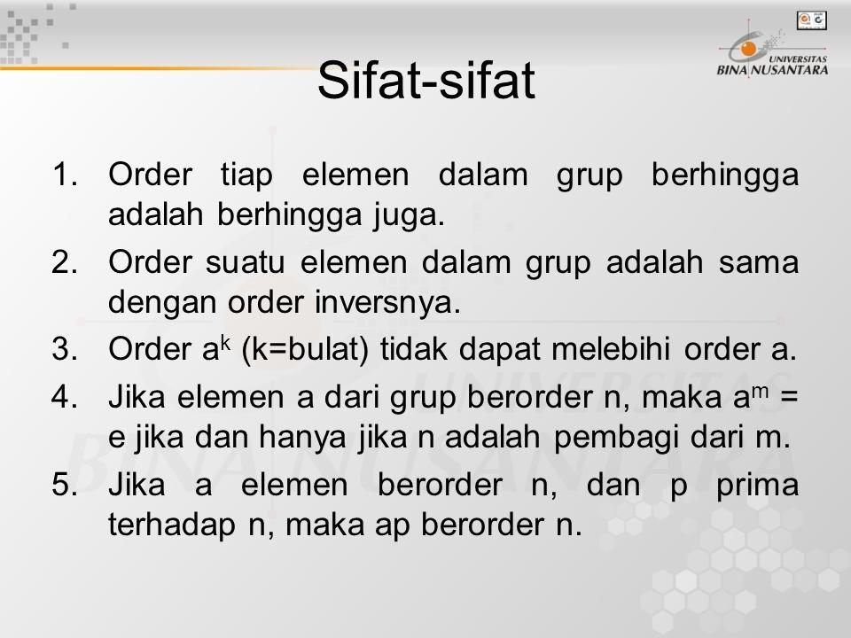 Sifat-sifat 1.Order tiap elemen dalam grup berhingga adalah berhingga juga. 2.Order suatu elemen dalam grup adalah sama dengan order inversnya. 3.Orde