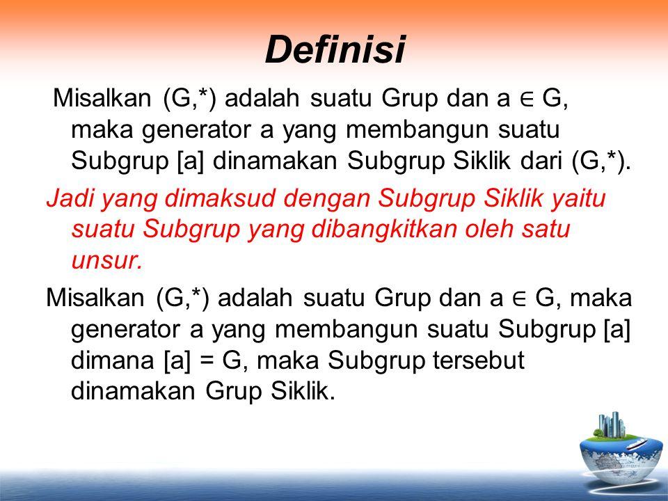 Definisi Misalkan (G,*) adalah suatu Grup dan a ∈ G, maka generator a yang membangun suatu Subgrup [a] dinamakan Subgrup Siklik dari (G,*). Jadi yang