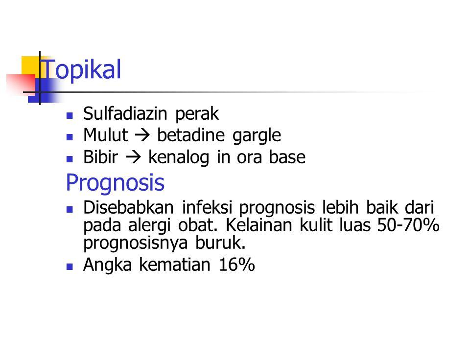 Topikal Sulfadiazin perak Mulut  betadine gargle Bibir  kenalog in ora base Prognosis Disebabkan infeksi prognosis lebih baik dari pada alergi obat.