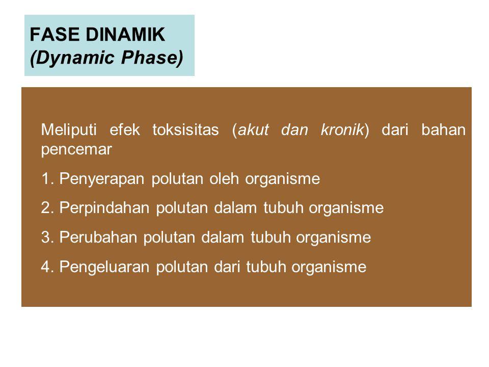 FASE DINAMIK (Dynamic Phase) Meliputi efek toksisitas (akut dan kronik) dari bahan pencemar 1.