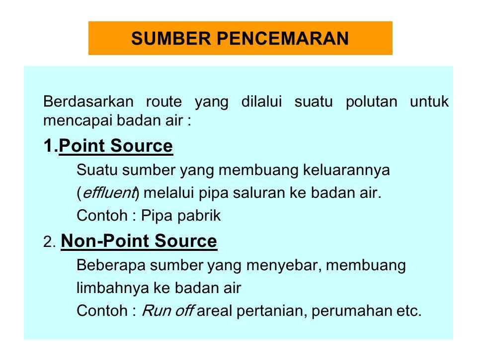 SUMBER PENCEMARAN Berdasarkan route yang dilalui suatu polutan untuk mencapai badan air : 1.Point Source Suatu sumber yang membuang keluarannya (effluent) melalui pipa saluran ke badan air.