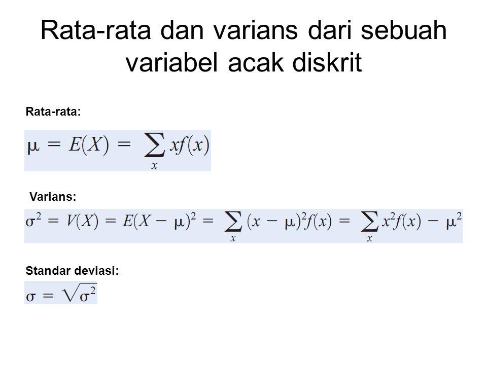 Contoh Contoh: ada kemungkinan bahwa sebuah bit yang dilewatkan sebuah saluran transmisi digital akan menerima error.