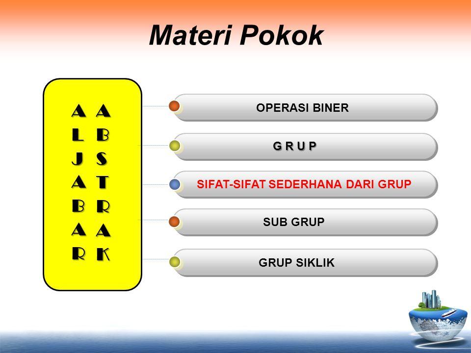 Tujuan Instruksional Umum Setelah mempelajari materi ini, Anda dapat memahami tentang operasi biner, grup dan sifat-sifat sederhana dari grup, subgrup serta tentang grup siklik