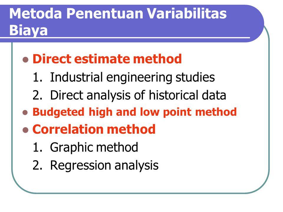 Metoda Penentuan Variabilitas Biaya Direct estimate method 1.Industrial engineering studies 2.Direct analysis of historical data Budgeted high and low point method Correlation method 1.Graphic method 2.Regression analysis