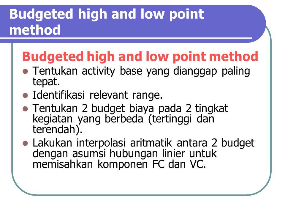 Budgeted high and low point method Tentukan activity base yang dianggap paling tepat.