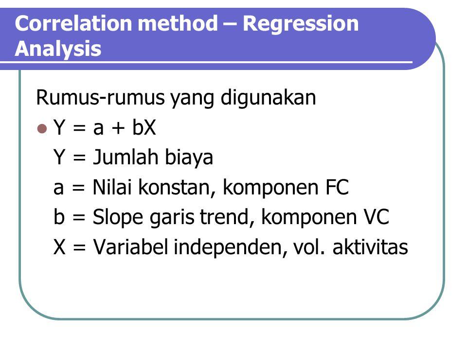 Correlation method – Regression Analysis Rumus-rumus yang digunakan Y = a + bX Y = Jumlah biaya a = Nilai konstan, komponen FC b = Slope garis trend, komponen VC X = Variabel independen, vol.