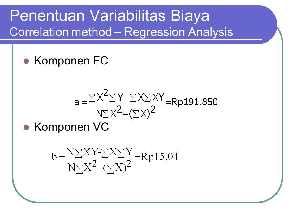 Penentuan Variabilitas Biaya Correlation method – Regression Analysis Komponen FC Komponen VC