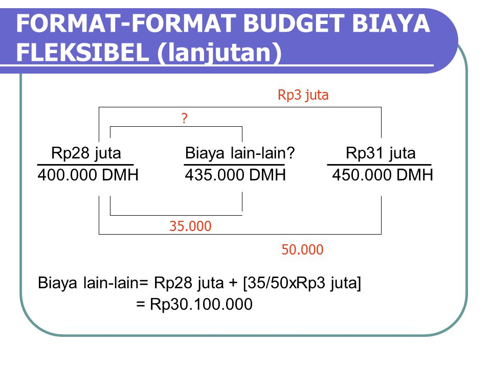 FORMAT-FORMAT BUDGET BIAYA FLEKSIBEL (lanjutan) Rp28 jutaBiaya lain-lain.
