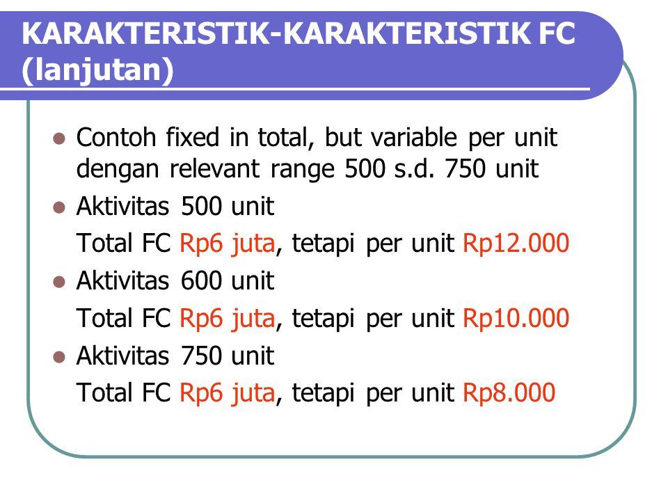 KARAKTERISTIK-KARAKTERISTIK FC (lanjutan) Contoh fixed in total, but variable per unit dengan relevant range 500 s.d.