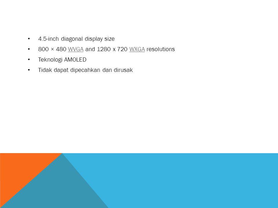 4.5-inch diagonal display size 800 × 480 WVGA and 1280 x 720 WXGA resolutionsWVGAWXGA Teknologi AMOLED Tidak dapat dipecahkan dan dirusak
