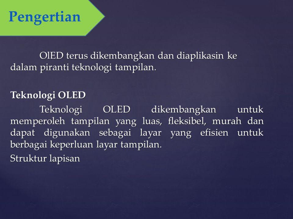 OlED terus dikembangkan dan diaplikasin ke dalam piranti teknologi tampilan. Teknologi OLED Teknologi OLED dikembangkan untuk memperoleh tampilan yang