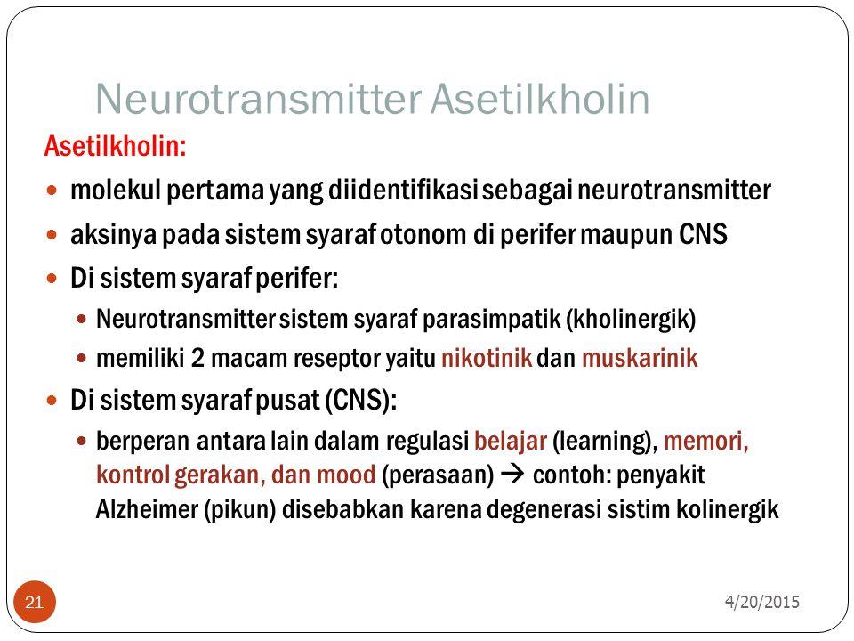 Neurotransmitter Asetilkholin 4/20/2015 21 Asetilkholin: molekul pertama yang diidentifikasi sebagai neurotransmitter aksinya pada sistem syaraf otono