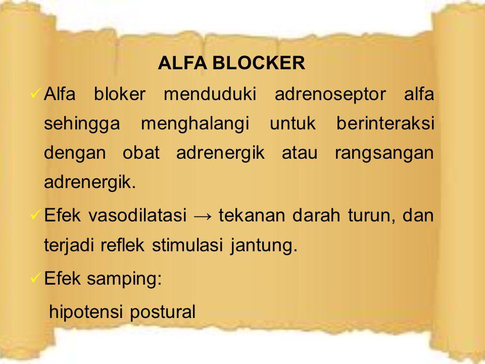 BETA BLOCKER Menghambat secara kompetitif obat adrenergik NE dan Epi (eksogen dan endogen) pada adrenosptor beta Asebutolol, metoprolol, atenolol dan bisoprolol → beta bloker kardioselektif (afinitas lebih tinggi pada reseptor beta1 daripada beta2) Efek: denyut dan kontraksi jantung ↓, TD ↓.