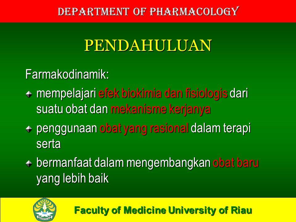 Faculty of Medicine University of Riau Department of Pharmacology PENDAHULUAN Farmakodinamik: mempelajari efek biokimia dan fisiologis dari suatu obat dan mekanisme kerjanya penggunaan obat yang rasional dalam terapi serta bermanfaat dalam mengembangkan obat baru yang lebih baik