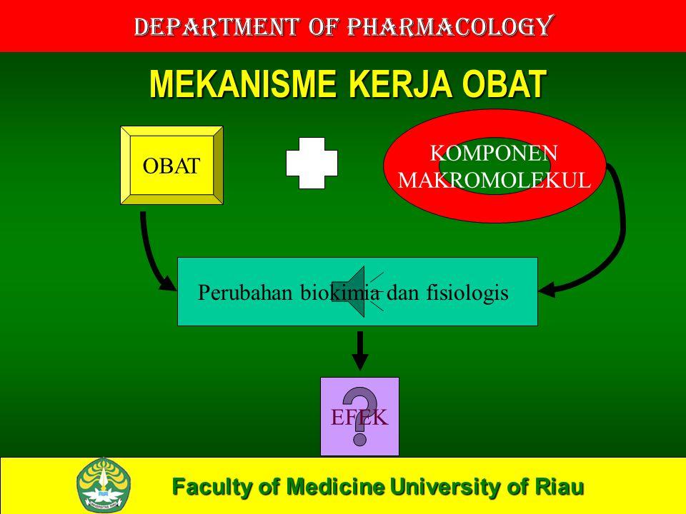 Faculty of Medicine University of Riau Department of Pharmacology OBAT KOMPONEN MAKROMOLEKUL Perubahan biokimia dan fisiologis EFEK MEKANISME KERJA OBAT