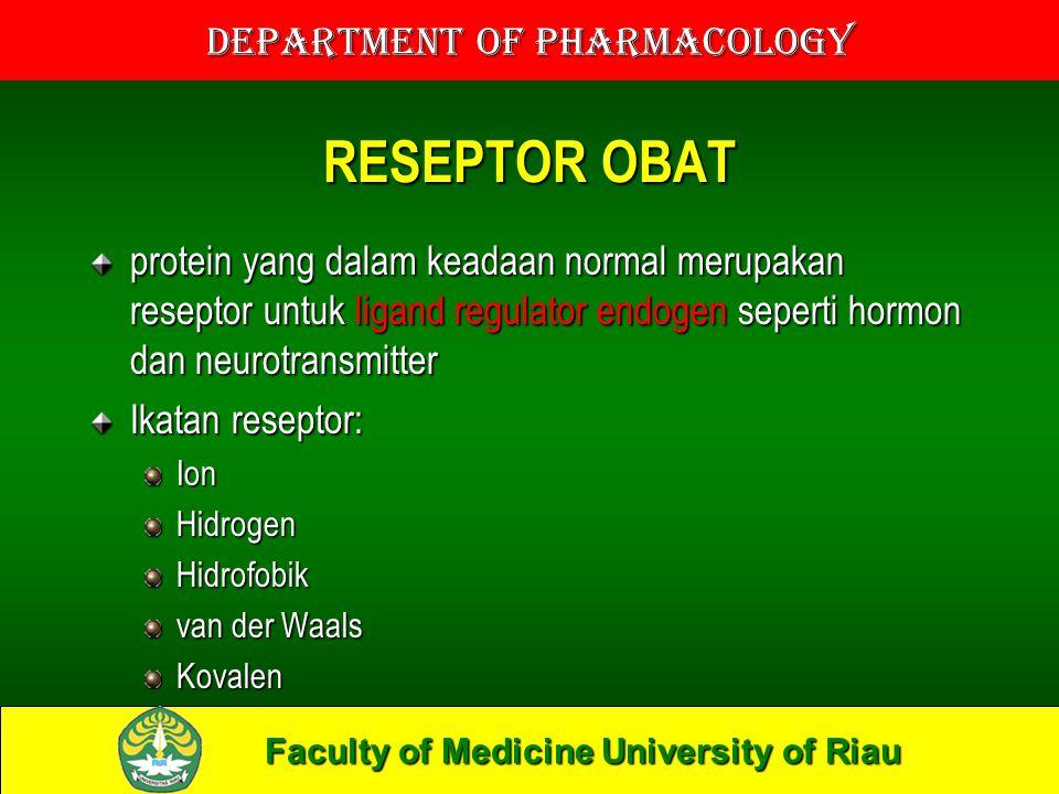 Faculty of Medicine University of Riau Department of Pharmacology RESEPTOR OBAT protein yang dalam keadaan normal merupakan reseptor untuk ligand regulator endogen seperti hormon dan neurotransmitter Ikatan reseptor: IonHidrogenHidrofobik van der Waals Kovalen