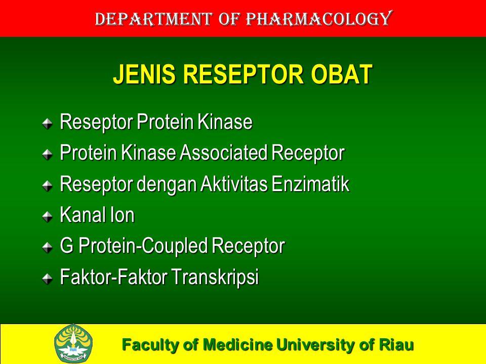 Faculty of Medicine University of Riau Department of Pharmacology JENIS RESEPTOR OBAT Reseptor Protein Kinase Protein Kinase Associated Receptor Reseptor dengan Aktivitas Enzimatik Kanal Ion G Protein-Coupled Receptor Faktor-Faktor Transkripsi