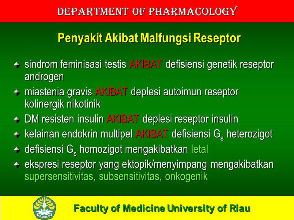 Faculty of Medicine University of Riau Department of Pharmacology REGULASI RESEPTOR OBAT reseptor tidak hanya meregulasi tetapi juga diregulasi regulasi meliputi sintesis dan degradasi melalui berbagai mekanisme, modifikasi kovalen, relokalisasi